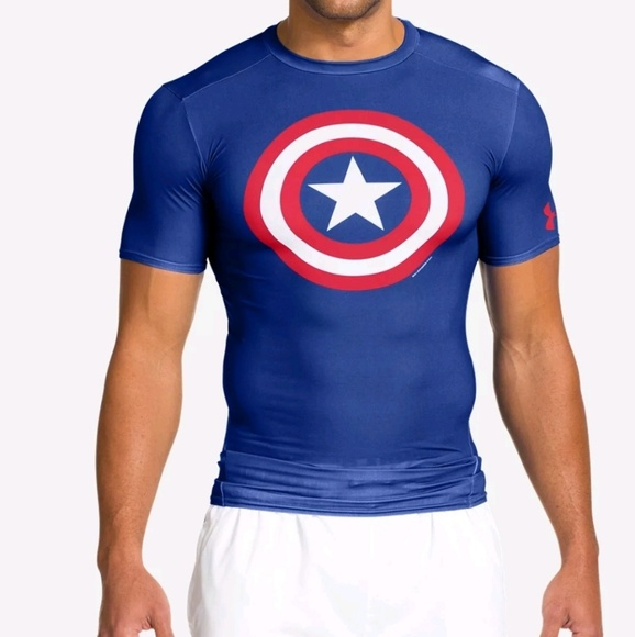 Mens Under Armour athletic medium shirt short sleeve blue stripe heat gear NEW